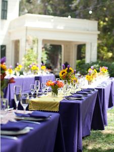 Wedding Decor Purple Tablecloths Yellow runner The Knotty Planner